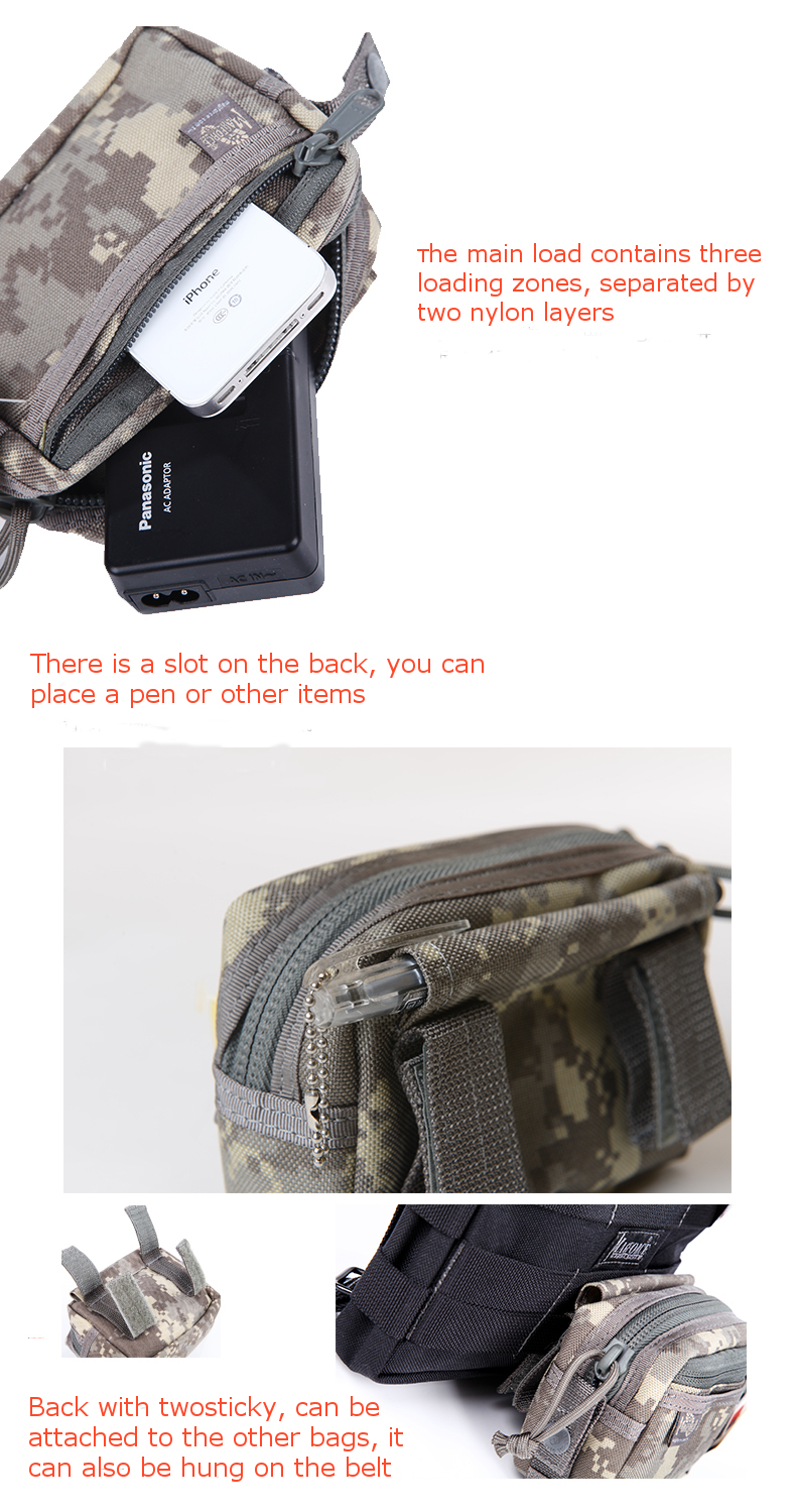 Magforce 0214 Tactical Molle Storage Bag Horizontal Pockets Nylon Pouch Utility Waist Pack 0214