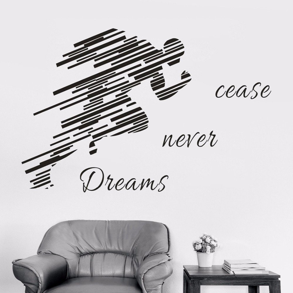 New Personality Creative Character Running Shadow Wall Stickers Living Room Bedroom TV Background Decorative Wallpaper Stickers Paper Painting Decorative Removable Waterproof Wall Stickers