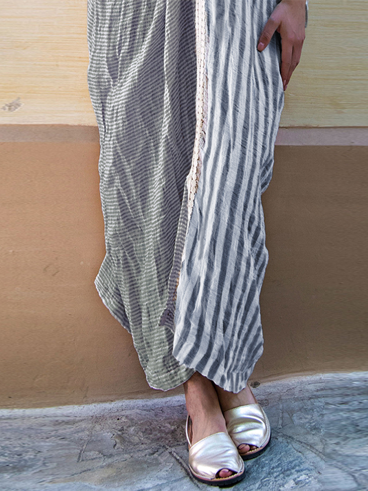 Women Half Sleeve Stripe V-neck Loose Baggy Long Shirt Maxi Dress