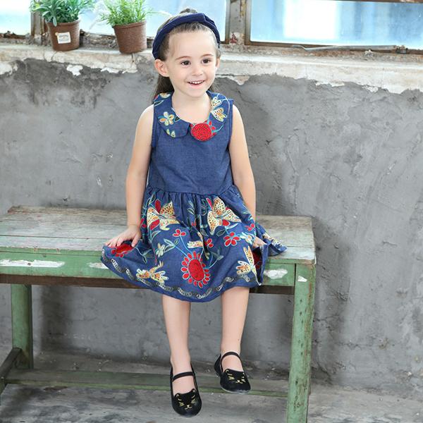 Baby Kid Girls Floral Embroidered Sleeveless Denim Dress