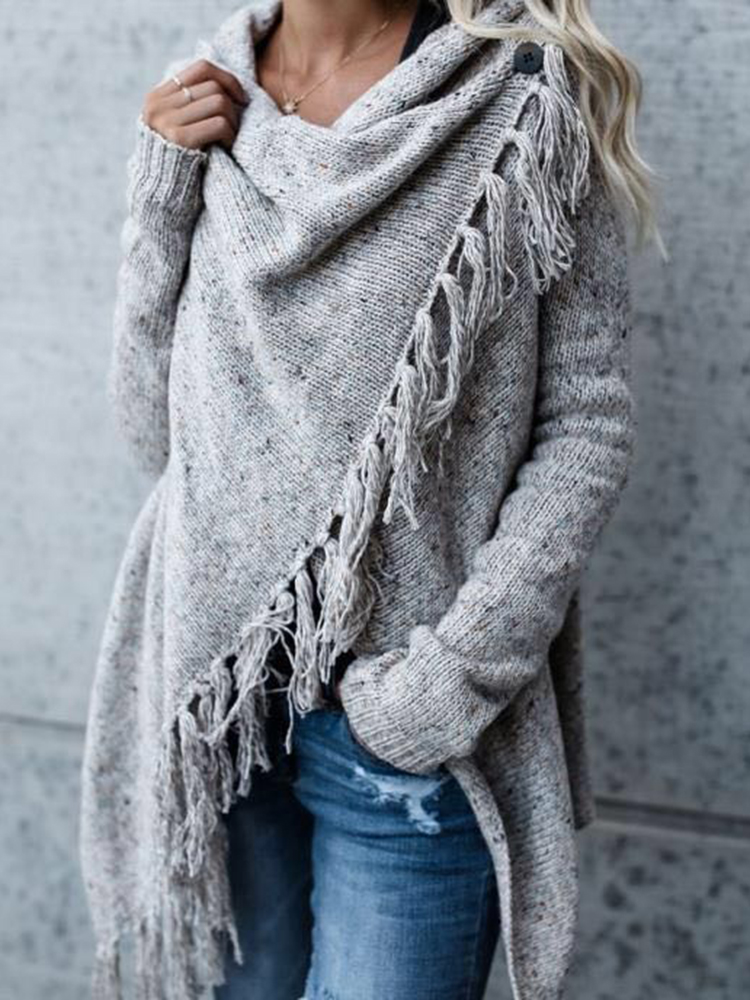 Women Long Sleeve Tassel Asymmetrical Cardigan Sweaters