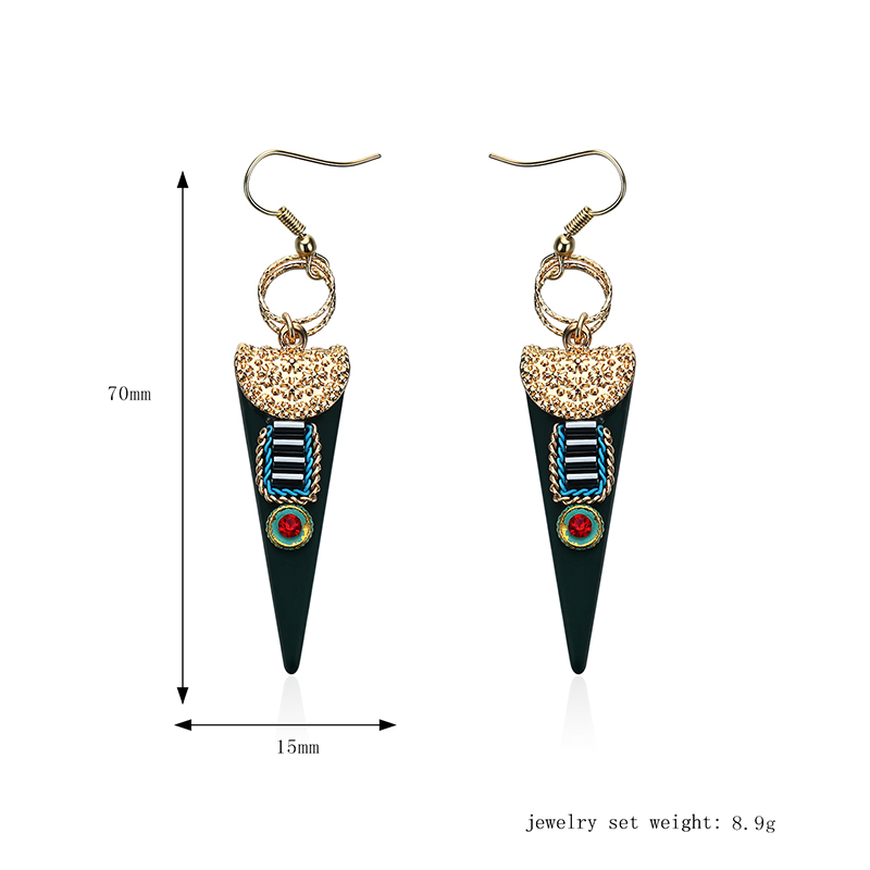 Women Bohemian Earrings Ethnic Gemstone Inlay Triangle Pendant Gold Plated Ear Drop Boho Jewelry