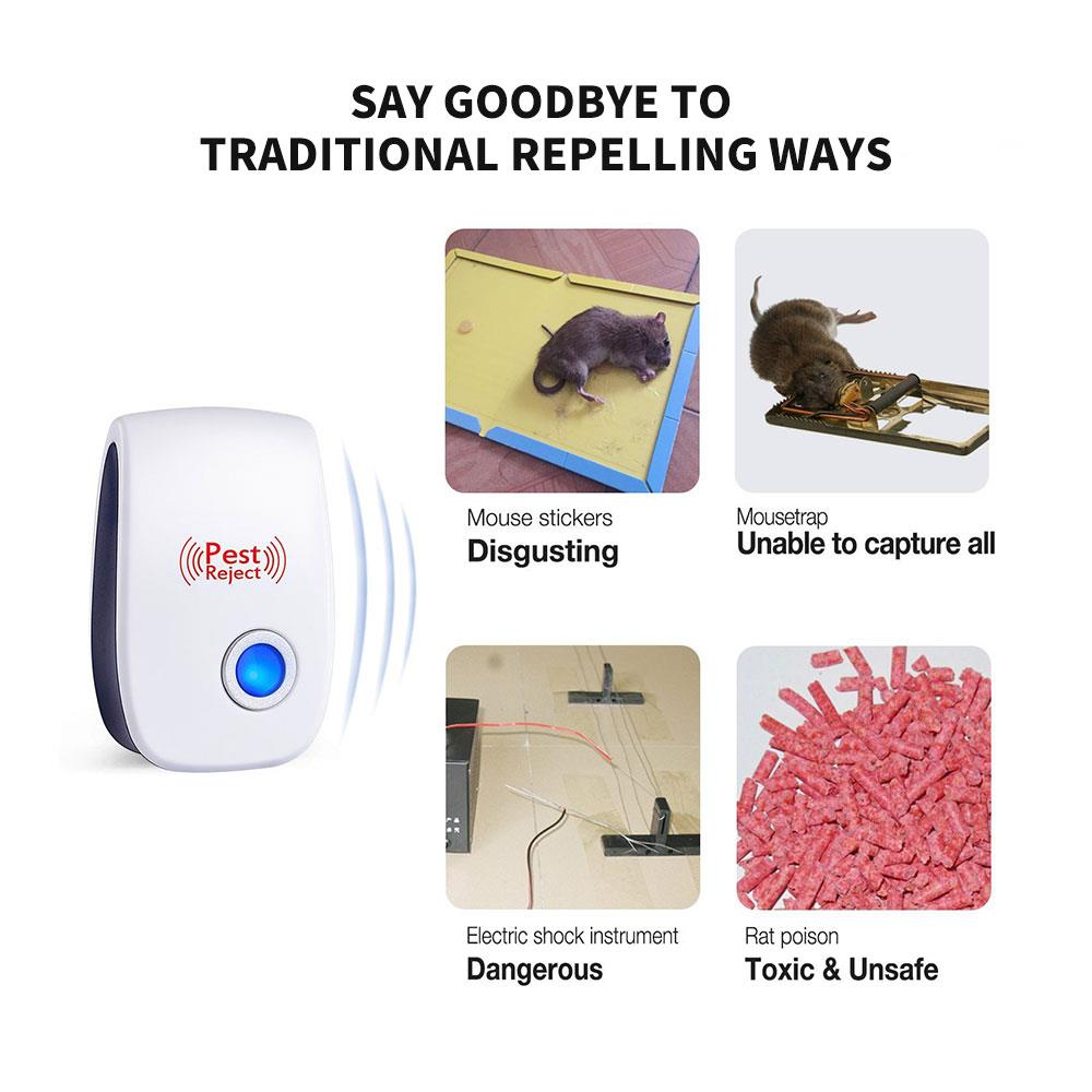 Loskii DC-9006W Ultrasonic Electronic Pest Repeller Mosquito Mouse Rat Multi-function Rodent Insect Repellent Mini Insect Killer Dispeller Rode US EU Plug