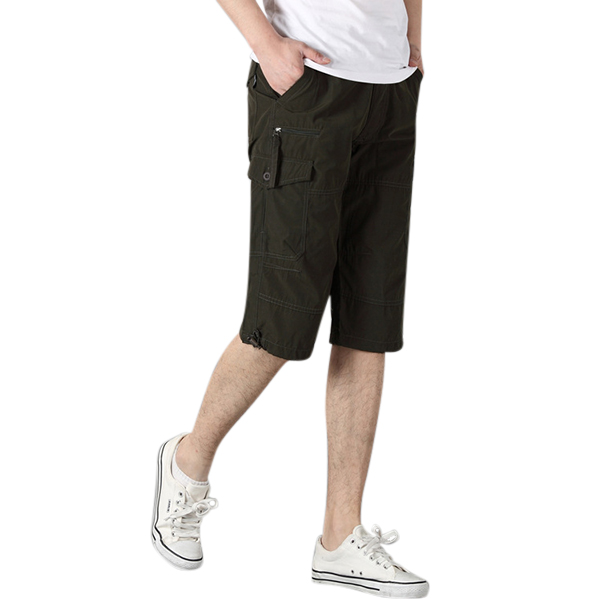 Men's Casual Knee Length Shorts Summer Loose Outdoor Cotton Short Pants