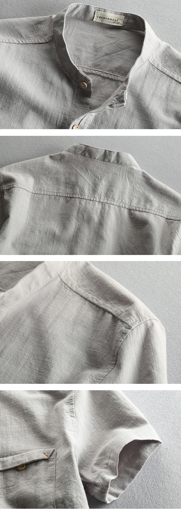 Mens Summer Breathable Chest Pocket Linen Stand Collar Short Sleeve Casual Shirt