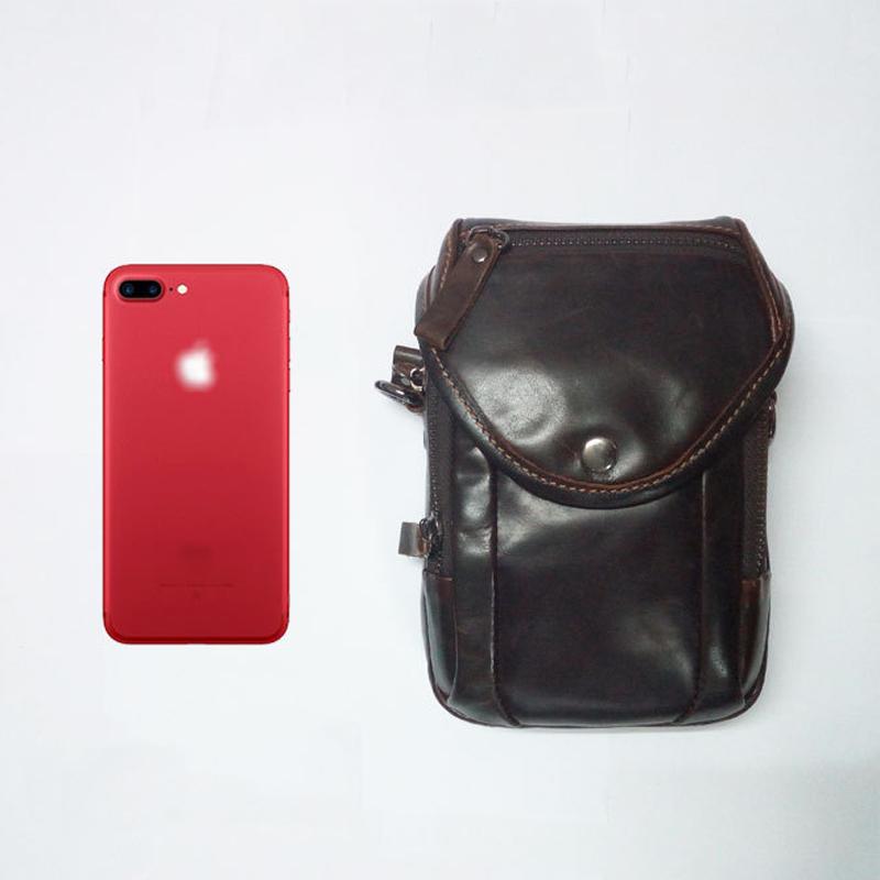 Men Genuine Leather Crossbody Phone Bag for 5.5in Phones