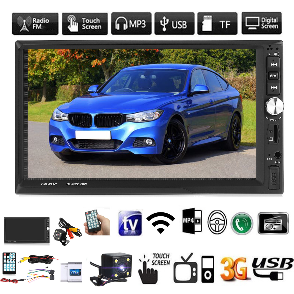 7 Inch Double 2 Din Car MP5 Player Touch Screen bluetooth USB FM Radio W/ Camera