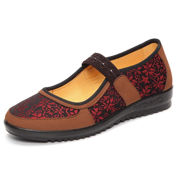 Vintage Elastic Flat Flower Print Slip On Casual Shoes