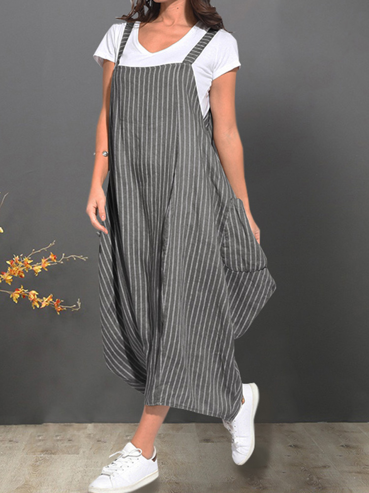 Women Loose Sleeveless Strap Pocket Striped Casual Dress