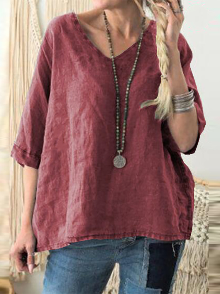 Women Solid Color V-neck Short Sleeve Casual Blouse