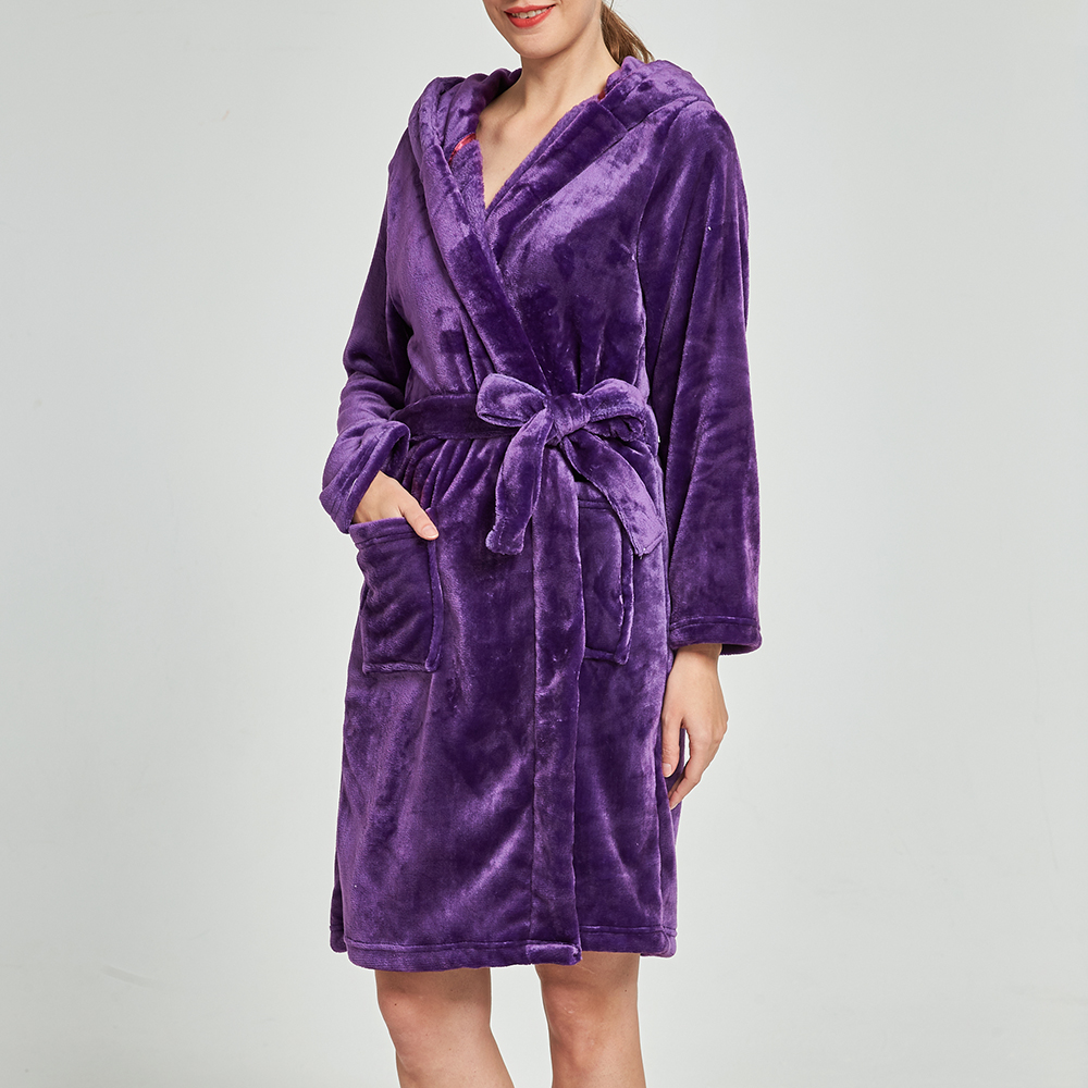 Women Thick Coral Fleece Long Sleeve Robes With Hat