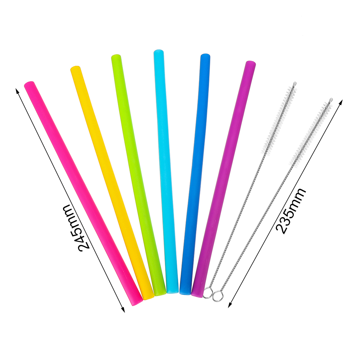 Reusable Straws Set 6PCS Silicone Straws Drinking Straws 6 Straight Straw With Brush