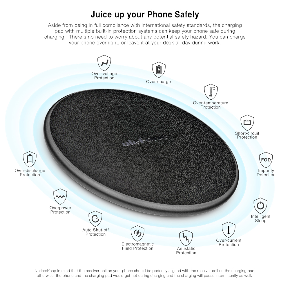 Ulefone UF002 10W 9V Fast Charging Qi Wireless Desktop Leather Charger Pad for iPhone X S9 Mix 2S