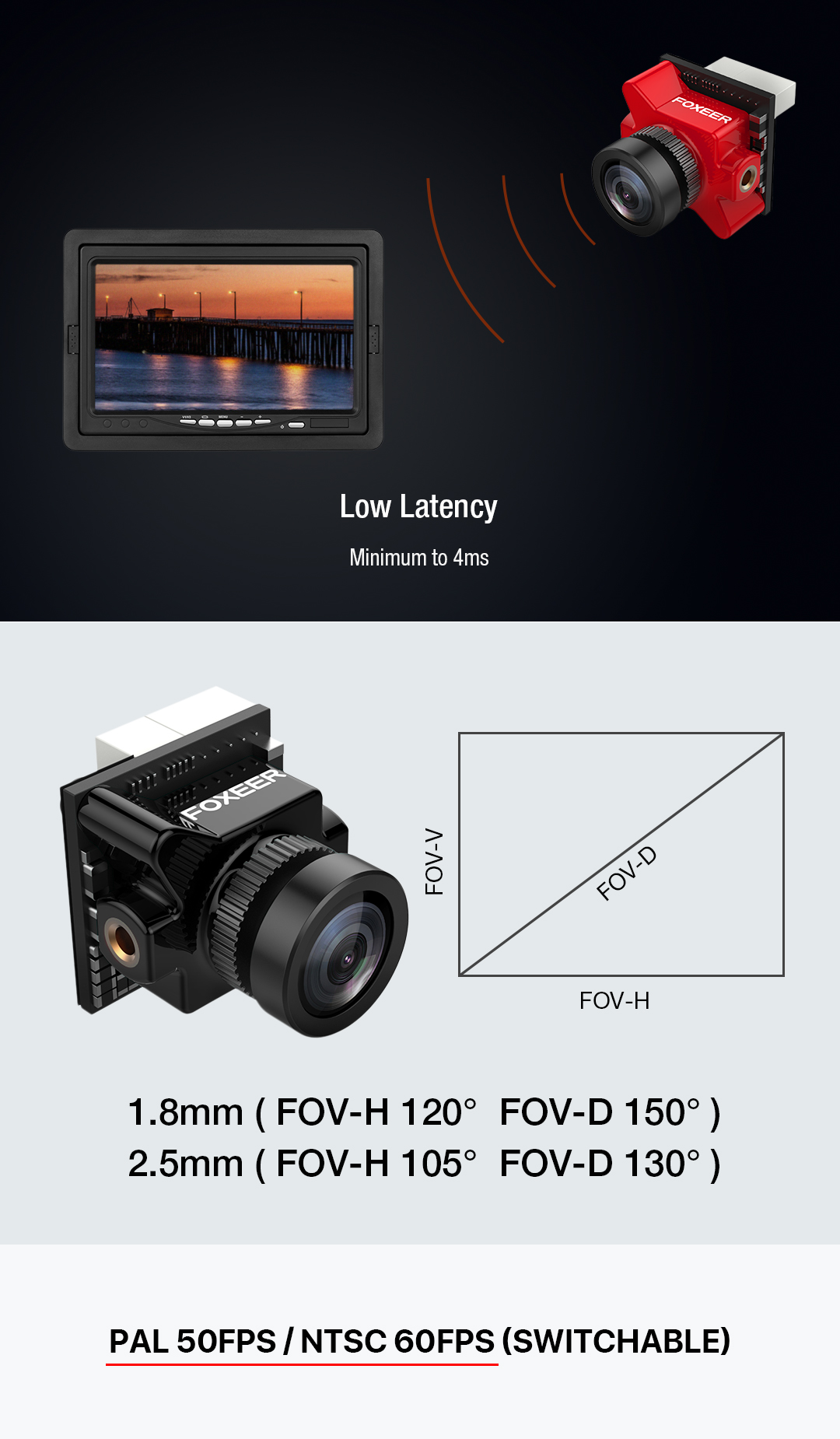 Foxeer Predator Micro V3 1.8mm 16:9/4:3 PAL/NTSC Switchable Super WDR 4ms Latency OSD FPV Camera