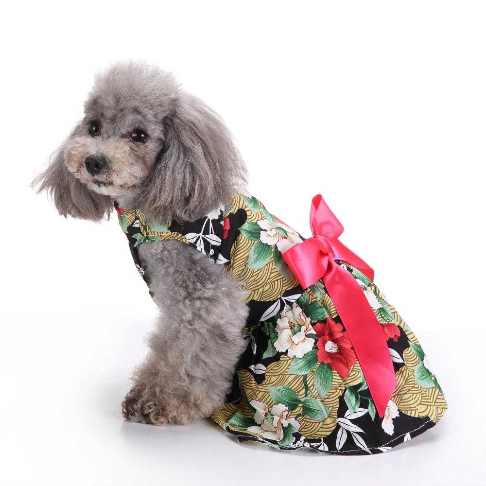 Image of Floral Hundegeschirr Kleid Haustier Kleidung D-Ring Weste Hemden Sommerkleid Schwarz