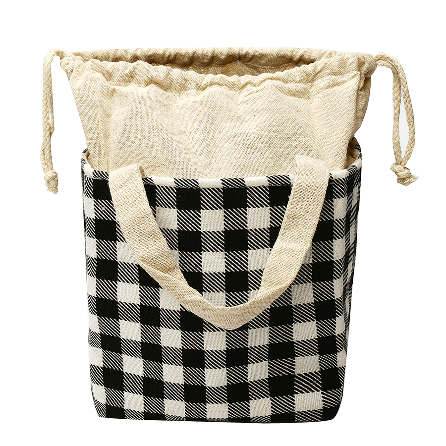 KCASA KC-BCH04 Cotton Linen Drawstring Insulated Cooler Lunch Tote Bag Large Capacity Food Organizer