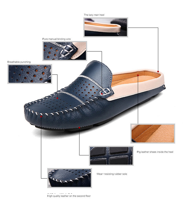 Men Breathable Hollow Out Casual Moccasin Leather Shoes Driving Loafer Oxfords