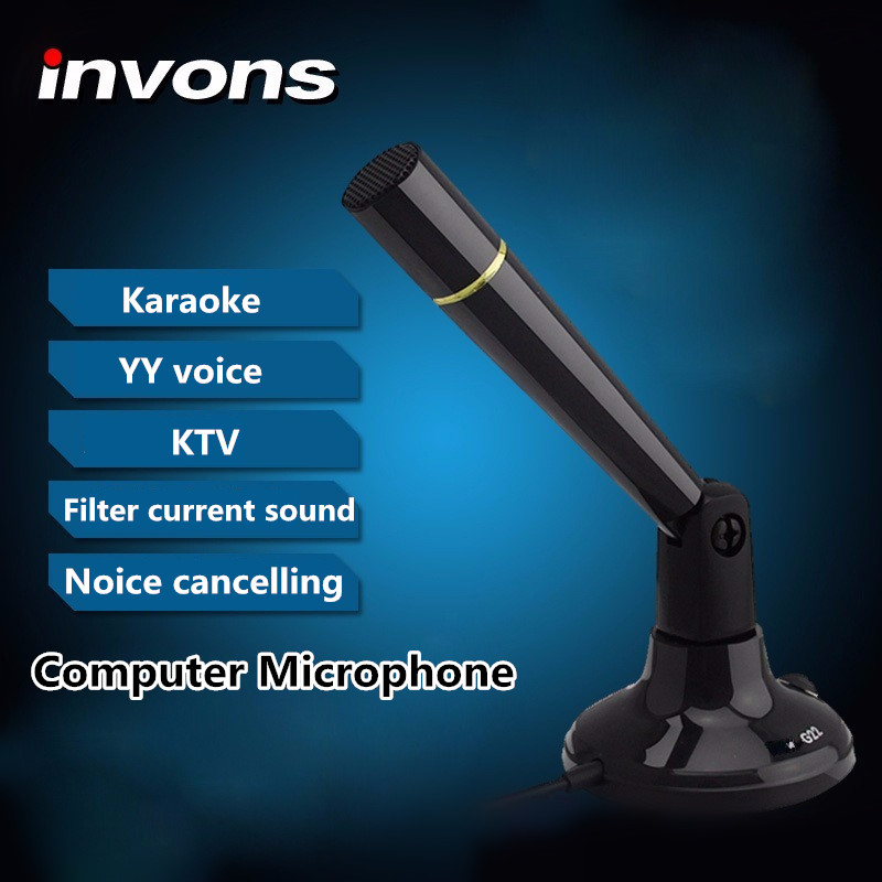 Invons TMK-G22 Computer Microphone Karaoke 360 Degree Rotation Wired Tabletop Condenser Microphone