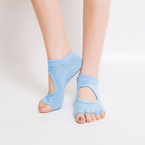 Women Half Five Fingers Cotton Half Toe Yoga Socks Anti-Slip Peep Toe Non-Slip Ankle Yoga Socks