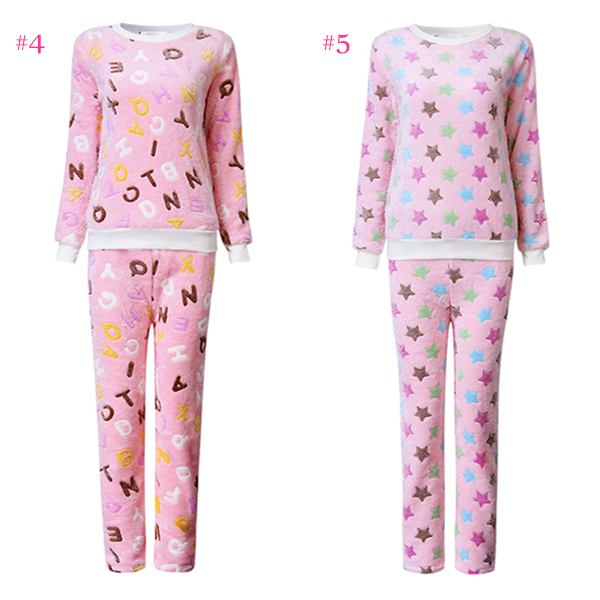 Woman Cozy Flannel Multiple Pattern Long Sleeve Thick Coral Velvet Sleepwear Sets