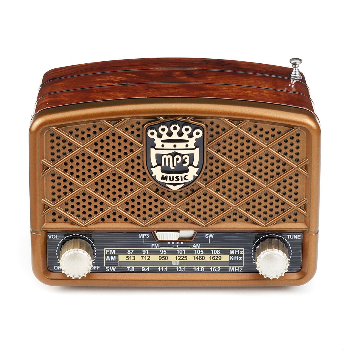 Retro AM 513-1629KHz SW FM 87-108MHz Radio AUX USB TF Card bluetooth Speaker MP3 Player