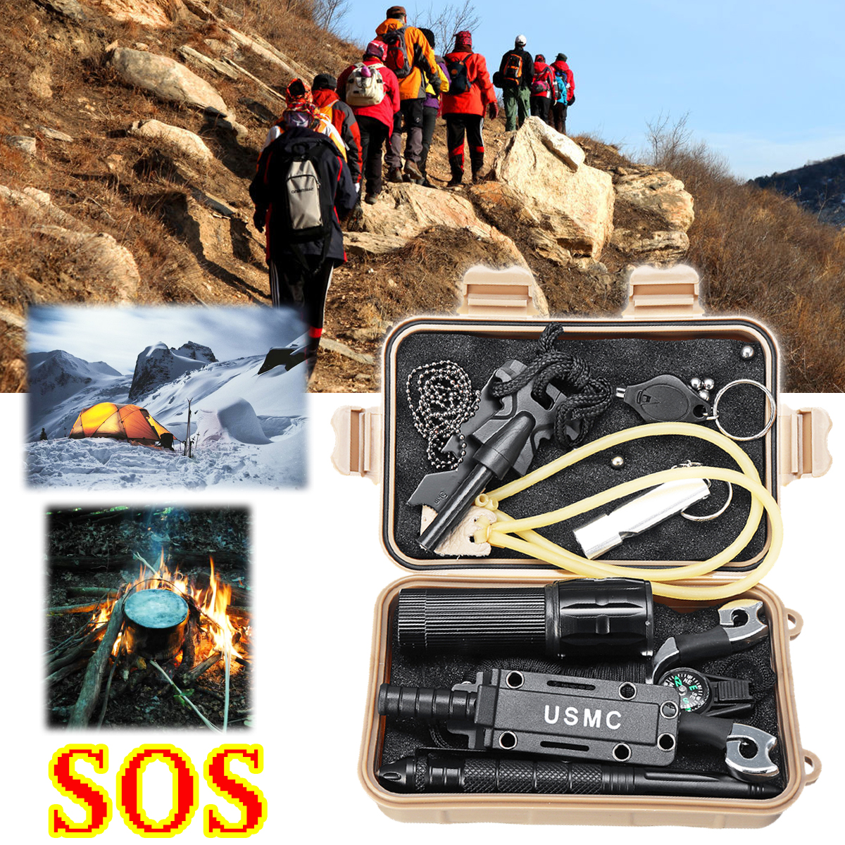 SOS Outdoor Emergency Survival Equipment Kit Gear Tools Kit Tactical Hunting Camping