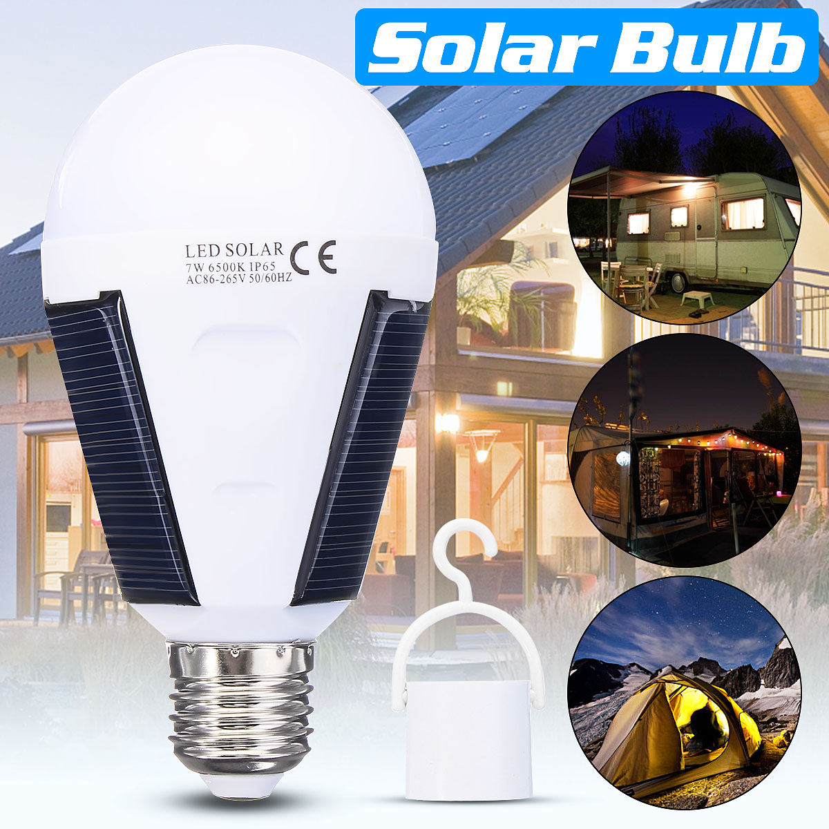 Portable 7W Solar LED Light Bulb Home Emergency Lantern Outdoor Camping Hiking Fishing Light