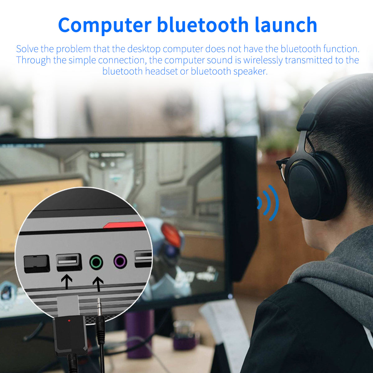bluetooth 5.0 FM USB AUX TV PC Transmitter Receiver
