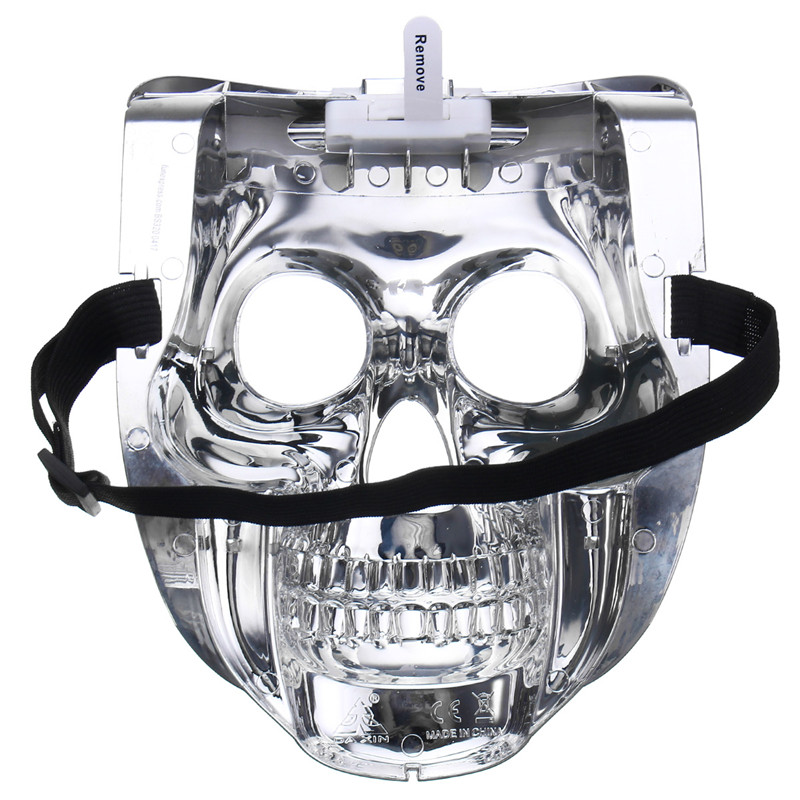 Silver Light Up LED Skeleton Skull Rave Mask Halloween Cosplay Costume Party