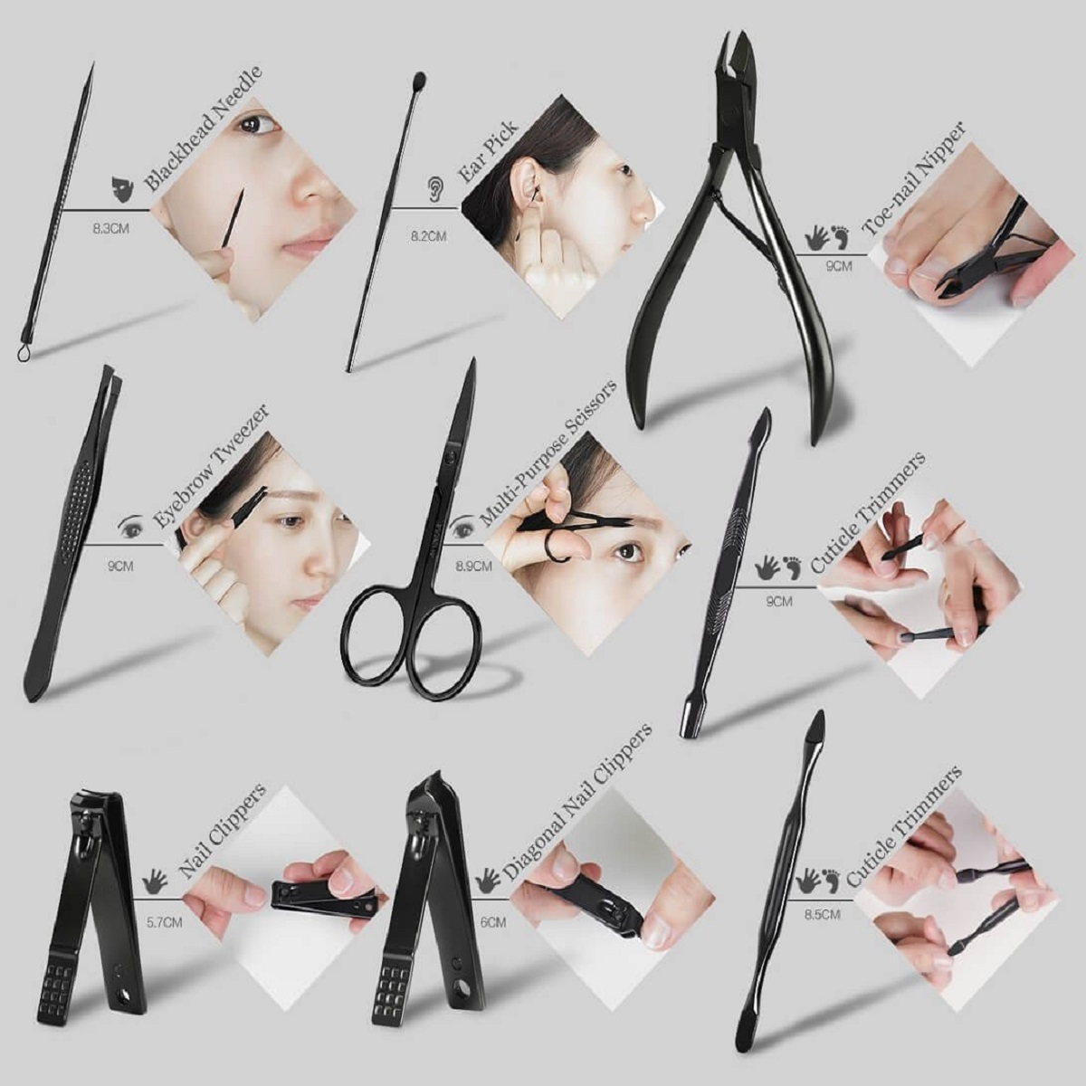 Y.F.M® 16pcs Nail Clipper Manicure Pedicure Set