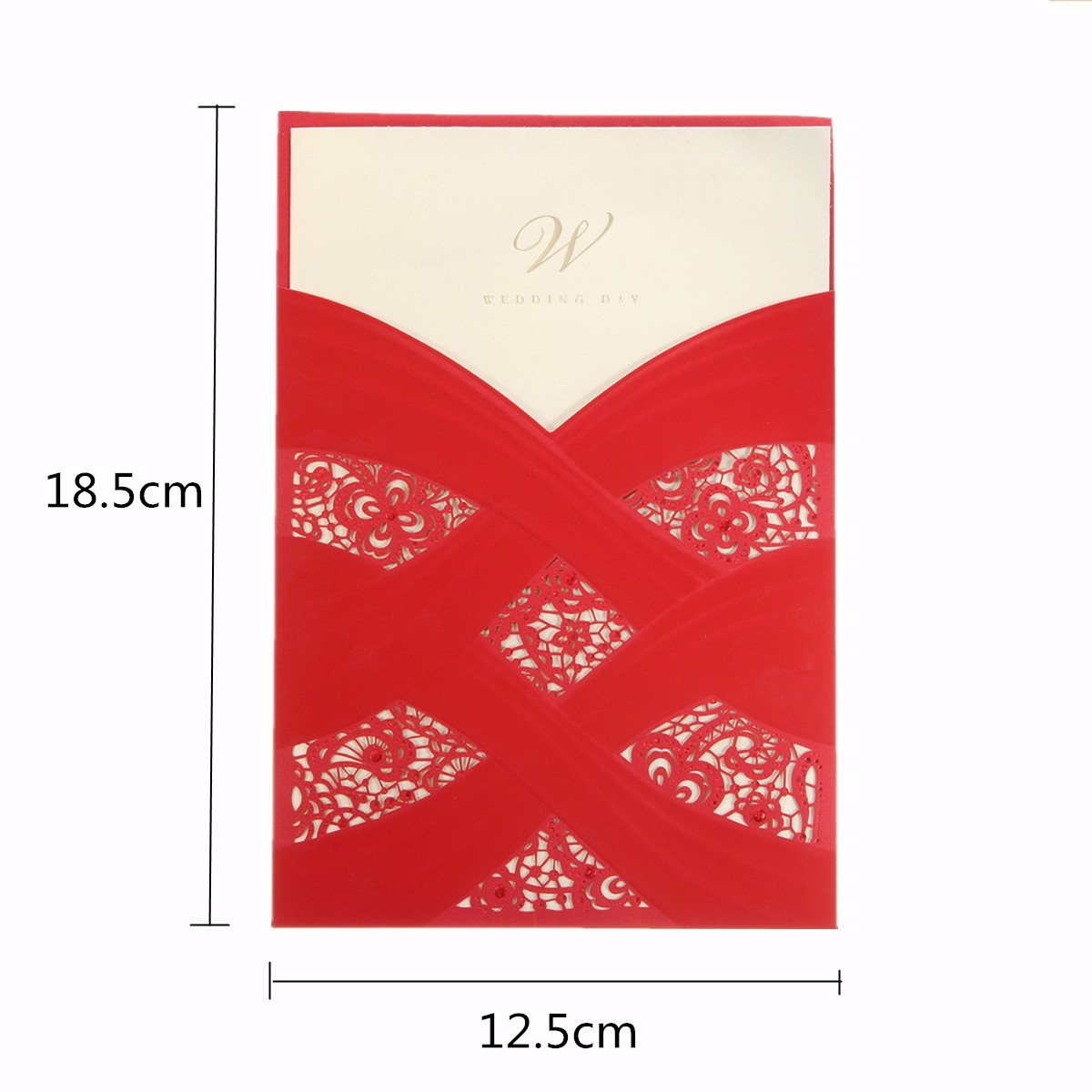 1Pcs Laser Cut Hollow Out Red Beige Wedding Evening Invitations Cards Personalized Envelopes Seals