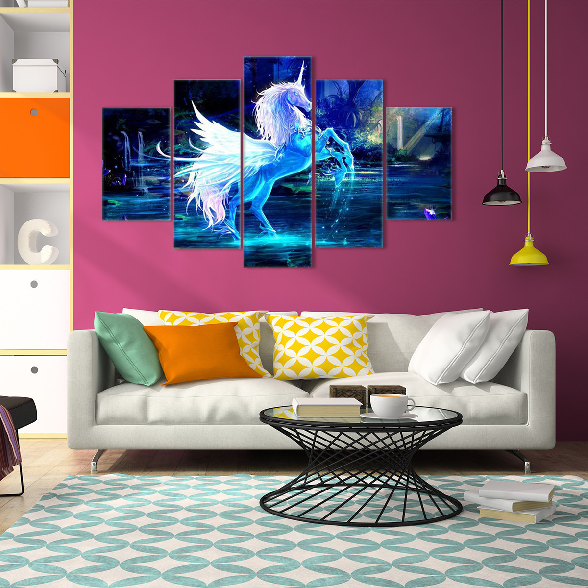 5Pcs Unicorn Abstract Flowers Canvas Print Painting Picture Wall Art Home Decor Paper Art