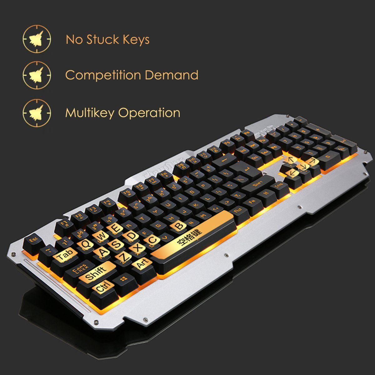 USB Wired Yellow LED Backlight Colorful Mechanical Handfeel Gaming Keyboard Mouse Headphone Combo