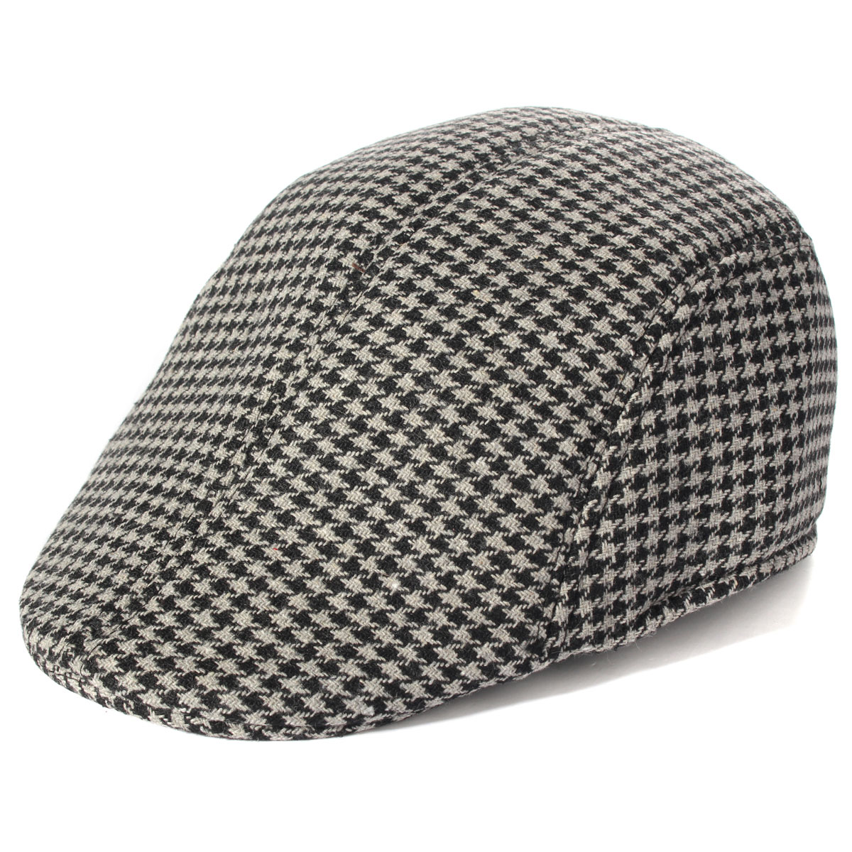 Unisex Men Women Cotton Blend Swallow Grid Beret Cap Paper Boy Flat Cowboy Cabbie Hat