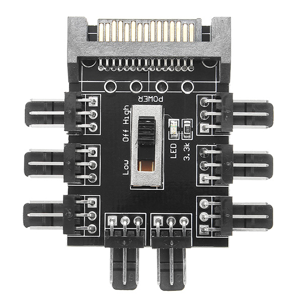 5pcs 12V D Type 4pin Male To 8 Way 3pin Fan Hub Fan Speed Controller Regulator For Computer Case SATA Interface Power Supply Turn High / Low / OFF Speed