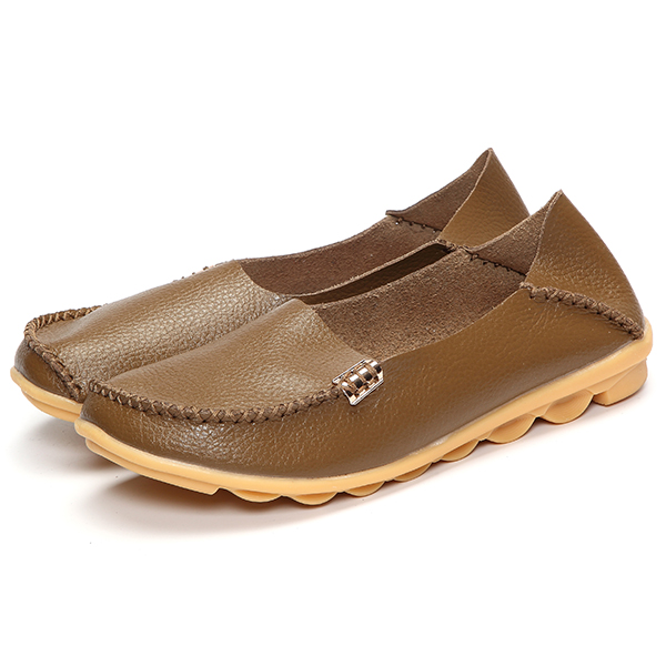 Soft Leather Round Toe Comfy Flats For Women