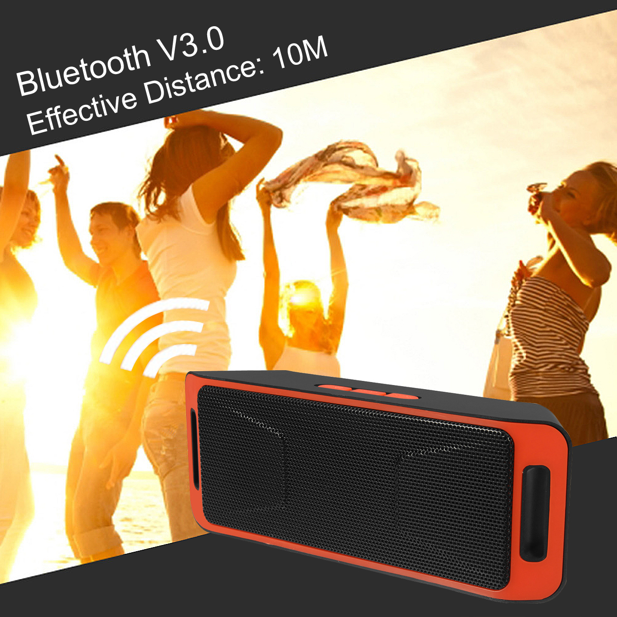 Portable Wireless bluetooth V3.0 Speaker USB Flash FM Radio Stereo Horns