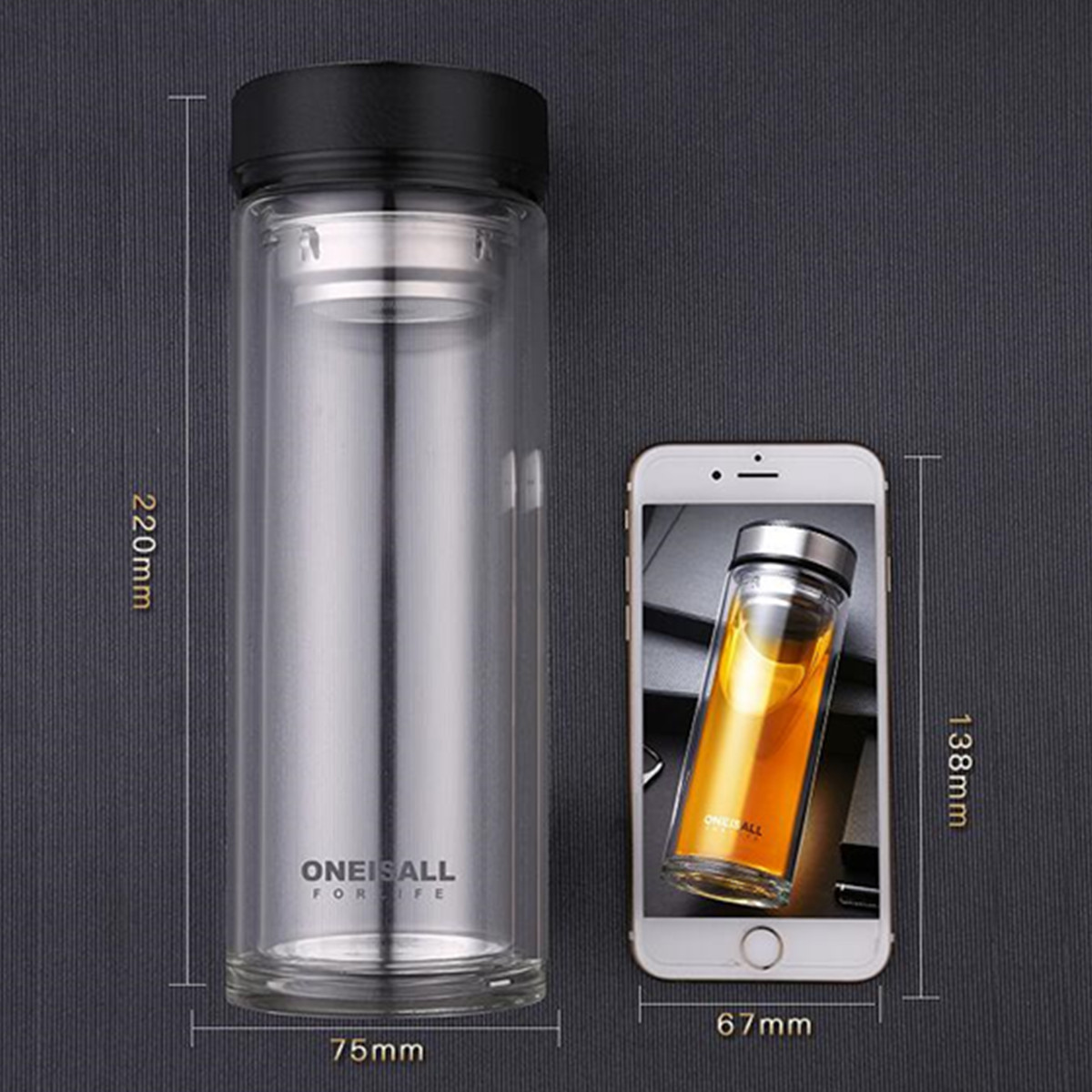 Oneisall 500ml Glass Water Bottle Cup Sports Home Office Travel Mug With Tea Infuser