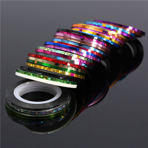10pcs Mixed Colors Rolls Nail Art Tips Striping Sticker Tape UV Gel Line DIY Kit