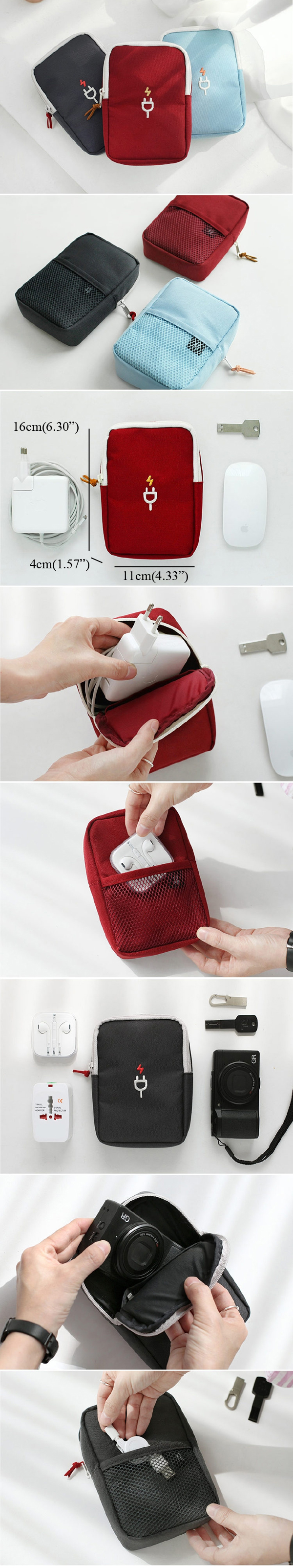 Women Men Charger Camera Data Wire Earphone Oxford Cloth Storage Bag