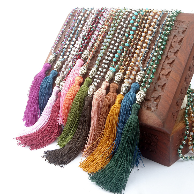 Religionary Buddha's Head Tassel Long Necklace Jewelry