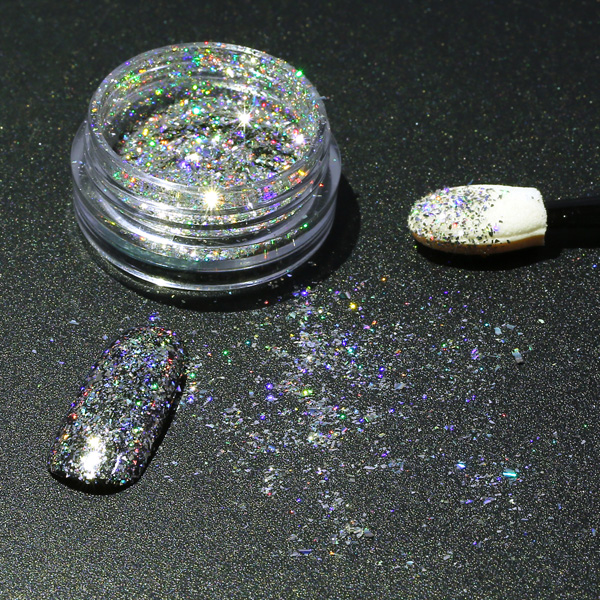 DANCINGNAIL Coarse Holographic Nail Powder Holo Glitters Pigment Aurora Laser Effect Rainbow Decoration
