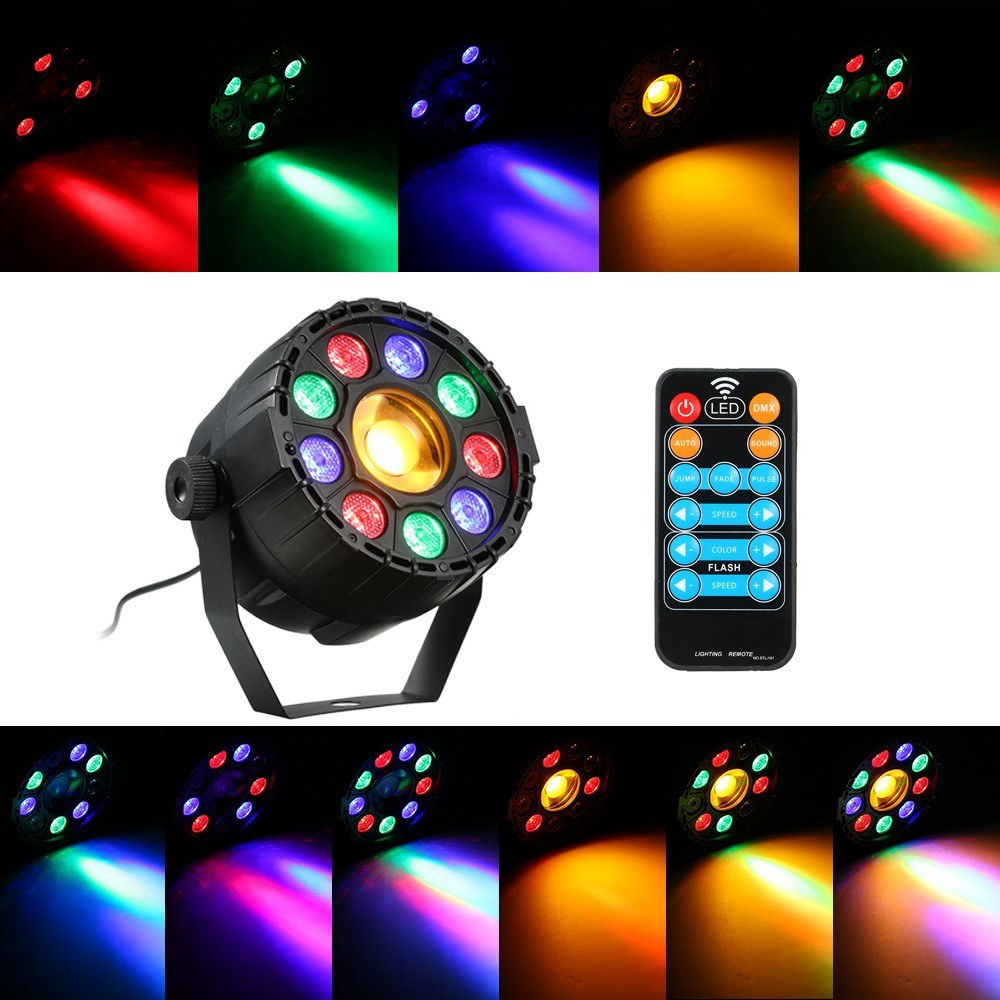 15W 10 LED Strobe Par Lamp RGB Yellow DMX Sound Remote Control Stage Light for DJ Party AC90-240V