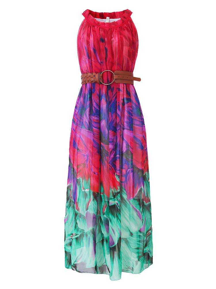 Bohemian Women Sleeveless Halter Printed Summer Beach Chiffon Maxi Dresses