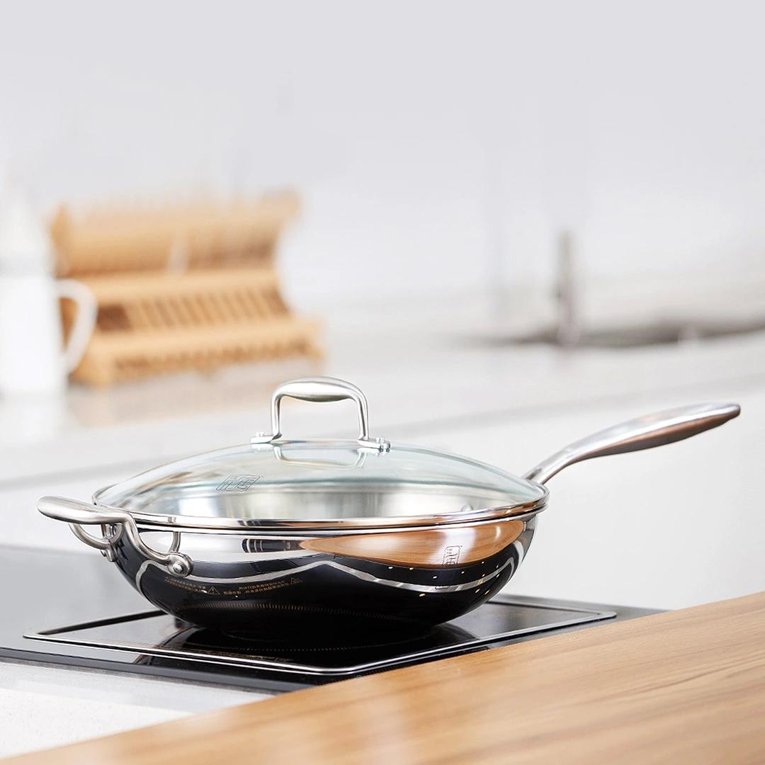 XIAOMI YIWUYISHI Stainless Steel Frying Pan Sliver Healthy Stainless Steel Saute Pan Non-stick Pot