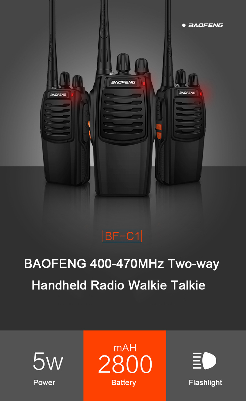 BAOFENG BF-C1 16 Channels 400-470MHz 1-10KM Dual Band Two-way Portable Handheld Radio Walkie Talkie