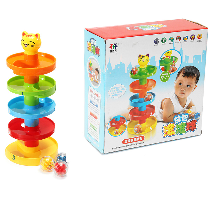 Stack Layers Tower Ramp Billowed Roll Ball Bell Toy Set Infant Developmental Educational Toys