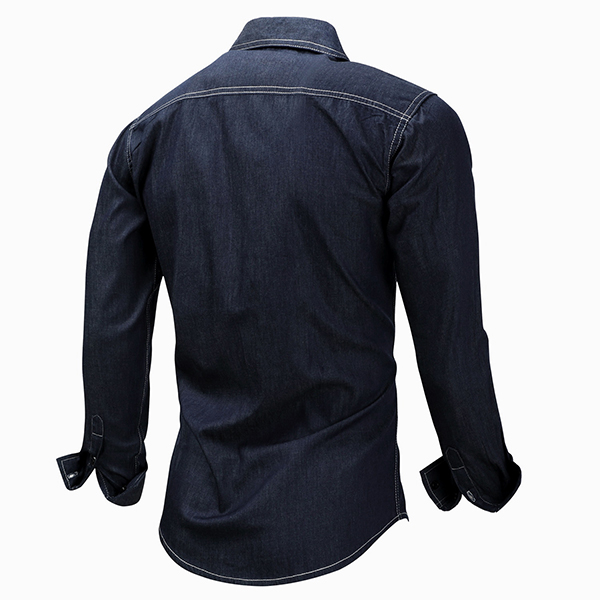 Mens Long Sleeve Cotton Turn-down Collar Chest Pockets Fashion Denim Shirt