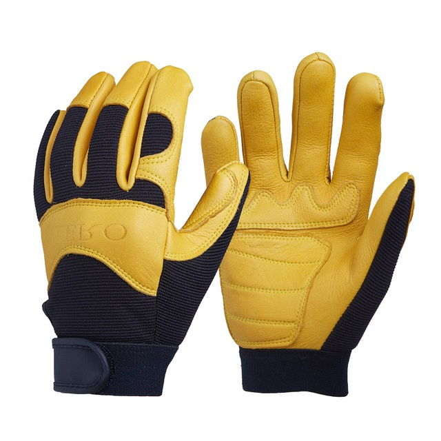 OZERO Deerskin Men's Work Driver Gloves Leather Security Wear Safety Workers Working Moto Glove