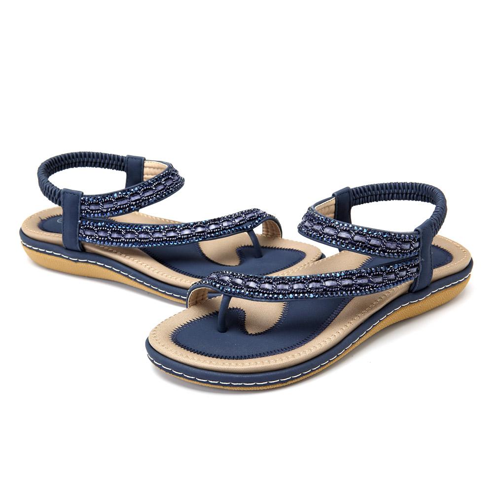 Extra Size Comfy Elastic Clip Toe Flat Beach Sandals